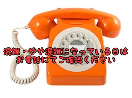 【予約】混雑状況カレンダーが「×混雑」となっている日はお電話ください!