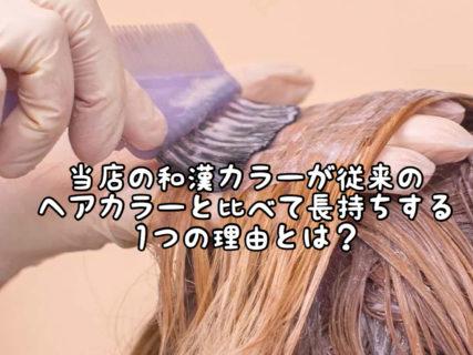 """【こだわり】当店の""""和漢カラー""""が""""従来のヘアカラー""""と比べて圧倒的に色持ちがいい理由とは?"""